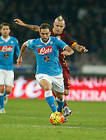 Napoli's Gonzalo Higuain  during the  italian serie a soccer match,between SSC Napoli and AS Roma       at  the San  Paolo   stadium in Naples  Italy ,December 13, 2015