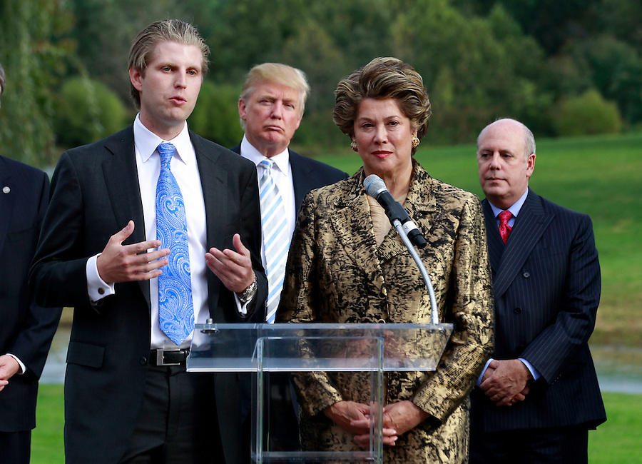 Oct. 04, 2011 - Charlottesville, VA. USA; Donald Trump will oversee Trump Vineyard Estates and Winery run by his son Eric trump, left, and  former owner Patricia Kluge, 2nd from right, and her husband Bill Moses, right. A press conference was held to announce the grand opening of Trump Vineyard Estates Tuesday in Charlottesville, Va. Trump purchased the foreclosed vineyard, previously owner by Patricia Kluge, at auction earlier this year. The 2,000 acre Trump Vineyard estate is also the home to Trump Winery, helmed by Donald's son Eric Trump.  (Credit Image: © Andrew Shurtleff)