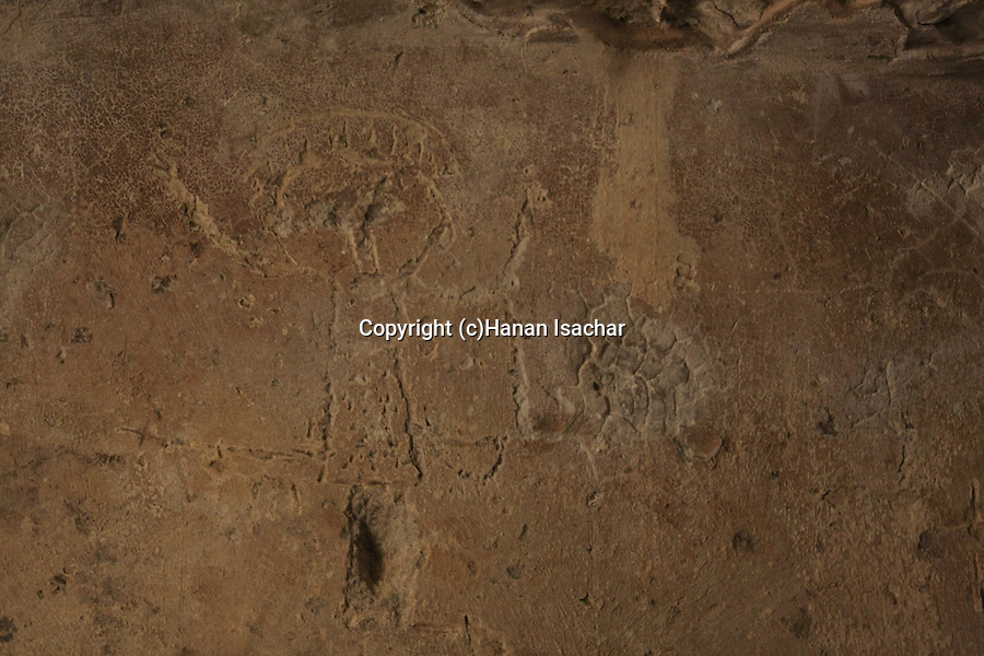 Israel, Jerusalem Mountains, Carved drawing depicting John the Baptist in the Cave of John the Baptist by kibbutz Tzuba near Ein Karem.