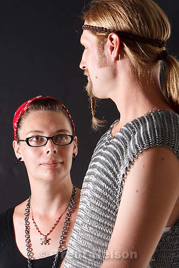 Salt Lake City - Artist Jeannie Hill with a chainmail top (on her boyfriend Ben) that she made by hand Wednesday, July 1, 2009.