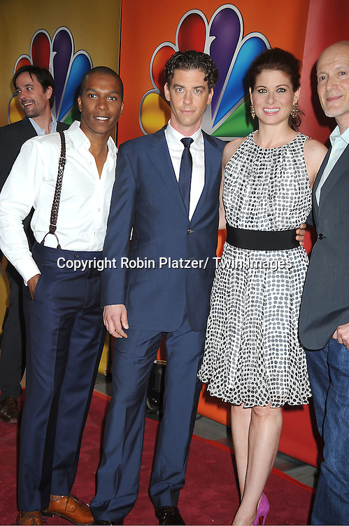 "Leslie Odom, Jr, Christian Borle and Debra Messing of ""Smash"" attends the NBC Upfront Presentation of 2012-2013 Season at Radio City Music Hall on May 14, 2012 in New York City."