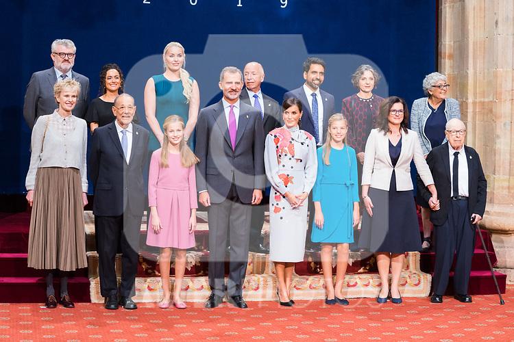 King Felipe VI, Queen Letizia, Princess of Asturias Leonor and Infant Sofia attend auddience  with prizewinnings of Princess of Asturias Awards 2019 . October 18, 2019.. (ALTERPHOTOS/ Francis Gonzalez)