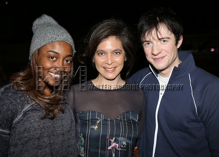 Patina Miller, Director Diana Paulus & Matthew James Thomas  attending the Broadway Opening Night Gypsy Robe Ceremony honoring Stephanie Pope for 'Pippin' at the Music Box Theatre in New York City on 4/25/2013