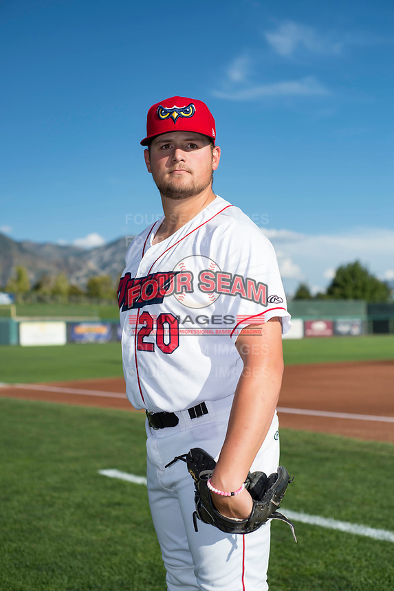 Orem Owlz pitcher Tyler Smith (20) poses for a photo prior to a Pioneer League game against the Ogden Raptors at the Home of the OWLZ on August 24, 2018 in Orem, Utah. The Ogden Raptors defeated the Orem Owlz by a score of 13-5. (Zachary Lucy/Four Seam Images)