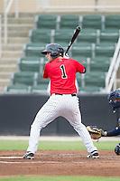 Hunter Jones (1) of the Kannapolis Intimidators at bat against the Charleston RiverDogs at CMC-NorthEast Stadium on June 28, 2014 in Kannapolis, North Carolina.  The Intimidators defeated the RiverDogs 4-3. (Brian Westerholt/Four Seam Images)
