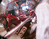 Chad Morin (Harvard 7) and Brian Gibbons (BC 17) hang out in the Harvard net. The Boston College Eagles defeated the Harvard University Crimson 6-5 in overtime on Monday, February 11, 2008, to win the 2008 Beanpot at the TD Banknorth Garden in Boston, Massachusetts.