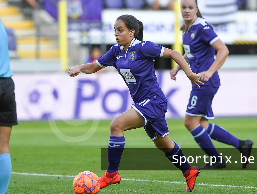 20190807 - ANDERLECHT, BELGIUM : Anderlecht's Diki Sakina Ouzraoui pictured during the female soccer game between the Belgian RSCA Ladies – Royal Sporting Club Anderlecht Dames  and the Greek FC PAOK Thessaloniki ladies , the first game for both teams in the Uefa Womens Champions League Qualifying round in group 8 , Wednesday 7 th August 2019 at the Lotto Park Stadium in Anderlecht  , Belgium  .  PHOTO SPORTPIX.BE | DAVID CATRY