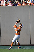 Texas Longhorns outfielder Mark Payton #15 makes a catch against the Arizona State Sun Devls in NCAA Tournament Super Regional baseball on June 10, 2011 at Disch Falk Field in Austin, Texas. (Photo by Andrew Woolley / Four Seam Images)