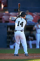 Wisconsin-Milwaukee Panthers right fielder Ian Ross (14) at bat during a game against the Bethune-Cookman Wildcats on February 26, 2016 at Chain of Lakes Stadium in Winter Haven, Florida.  Wisconsin-Milwaukee defeated Bethune-Cookman 11-0.  (Mike Janes/Four Seam Images)