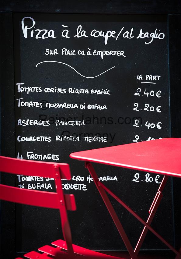 France, Provence-Alpes-Côte d'Azur, Menton: pizza to go - price board | Frankreich, Provence-Alpes-Côte d'Azur, Menton: Pizza zum Mitnehmen - Preistafel