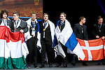 Lille - France- 05 October 2014 --  Euroskills 2014 competition, closing ceremony and medals. -- Team Finland - Ville Vuorinen (vas.), Pekka Tuukkanen and Niklas Lindgren (ri) hopea, silver medalists, ICT-asiantuntija / Enterprise ICT Team Challenge and Best of Finland (gold, kultaa). -- PHOTO: SkillsFinland / Juha ROININEN - EUP-IMAGES