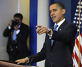 United States President Barack Obama calls on a reporter as he holds an impromptu news conference in the Brady Briefing Room of the White House in Washington on Tuesday, February 9, 2010.  Obama urged compromise and bipartisanship with the Republican opposition on efforts such as health care and bringing down the deficit.  .Credit: Mike Theiler / Pool via CNP