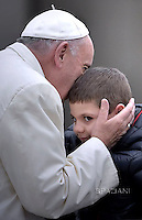 Pope Francis  during his weekly general audience in St. Peter square at the Vatican, Wednesday.November 18, 2015.