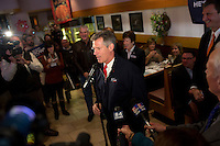 Senator Scott Brown (R-MA) speaks at a meeting of the Law Enforcement Coalition for Brown at Johnny Jack's Restaurant in Milford, Massachusetts, USA, on Thurs., Nov. 2, 2012. Senator Scott Brown is seeking re-election to the Senate.  His opponent is Elizabeth Warren, a democrat.