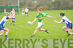 Louise Ni Mhuircheartaigh (Kerry) gets the better of G Kennelly (Waterford) in The Ladies National  Football League on Sundayy in Castleisland Desmond GAA Grounds on Sunady...