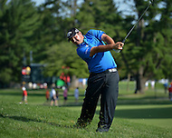 Bethesda, MD - June 28, 2014: Patrick Reed plays his second shot on hole 17 in the third round of the Quicken Loans National at the Congressional Country Club in Bethesda, MD, June 28, 2014.  (Photo by Don Baxter/Media Images International)
