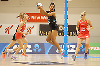 10.09.2017 Silver FernsTemalisi Fakahokotau in action during the Taini Jamison Trophy match between the Silver Ferns and England at Pettigrew Green Arena in Napier. Mandatory Photo Credit ©Michael Bradley.