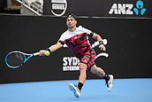 11th January 2018, Sydney Olympic Park Tennis Centre, Sydney, Australia; Sydney International Tennis,quarter final; Fabio Fognini (ITA) stretches to hit a forehand return in his match against Adrian Mannarino (ITA)