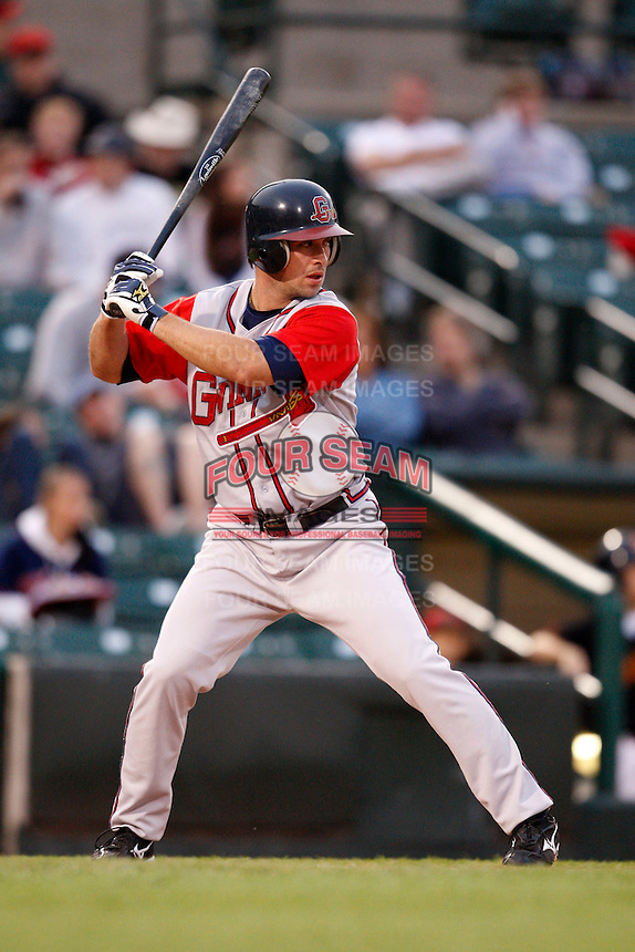 June 3, 2009:  Third Baseman Van Pope of the Gwinnett Braves at bat during a game at Frontier Field in Rochester, NY.  The Gwinnett Braves are the International League Triple-A affiliate of the Atlanta Braves.  Photo by:  Mike Janes/Four Seam Images