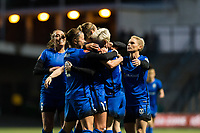 Seattle, WA - Saturday April 15, 2017: Megan Rapinoe celebrates scoring during a regular season National Women's Soccer League (NWSL) match between the Seattle Reign FC and Sky Blue FC at Memorial Stadium.