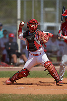 Canada Junior National Team catcher Tyson Gomm (23) throws down to second base during an exhibition game against the Philadelphia Phillies on March 11, 2020 at Baseball City in St. Petersburg, Florida.  (Mike Janes/Four Seam Images)