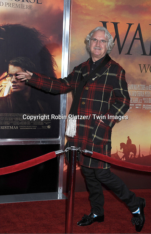 "Billy Connolly attends the world premiere of ""War Horse"" on December 4, 2011 at Avery Fisher Hall in New York City."