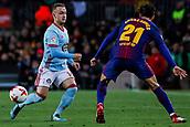 11th January 2018, Camp Nou, Barcelona, Spain; Copa del Rey football, round of 16, 2nd leg, Barcelona versus Celta Vigo; Lobotka of Celta de Vigo passes the ball across Andres Gomez