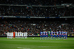 Real Madrid´s players and Levante´s players observe a minute of silence during La Liga match at Santiago Bernabeu stadium in Madrid, Spain. March 15, 2015. (ALTERPHOTOS/Victor Blanco)