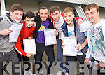 Junior Cert students from Mercy Mounthawk Secondary collecting their results on Wednesday, from left: David Ahern, Gary Foley, Timmy Ryan, Shane Flaherty, Ryan Lynch and Josh O'Reilly..