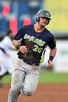 Vermont Lake Monsters outfielder Ryan Huck (20) running the bases during a game against the Jamestown Jammers on July 12, 2014 at Russell Diethrick Park in Jamestown, New York.  Jamestown defeated Vermont 3-2.  (Mike Janes/Four Seam Images)
