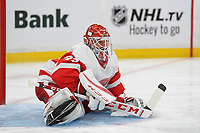 September 26, 2018: Detroit Red Wings goaltender Jonathan Bernier (45) stretches during the NHL pre-season game between the Detroit Red Wings and the Boston Bruins held at TD Garden, in Boston, Mass. Detroit defeats Boston 3-2 in overtime. Eric Canha/CSM