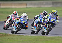 Tommy Hayden leads a pack during Sunday's American Superbike race at the Suzuki Big Kahuna Nationals, Virginia International Raceway, Alton, VA, August 2009. (Photo by Briain Cleary/www.bcpix.com)