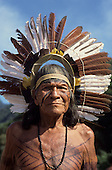 Brazil. Karaja Indian elder wearing traditional feather headdress, seed necklace and body paint.