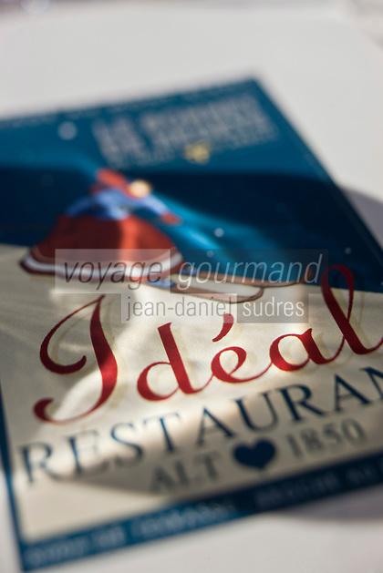 Europe/France/Rhône-Alpes/74/Haute-Savoie/Megève: Enseigne du Chalet d'altitude, restaurant: L'Idéal  1850 au sommet du Mont d'Arbois