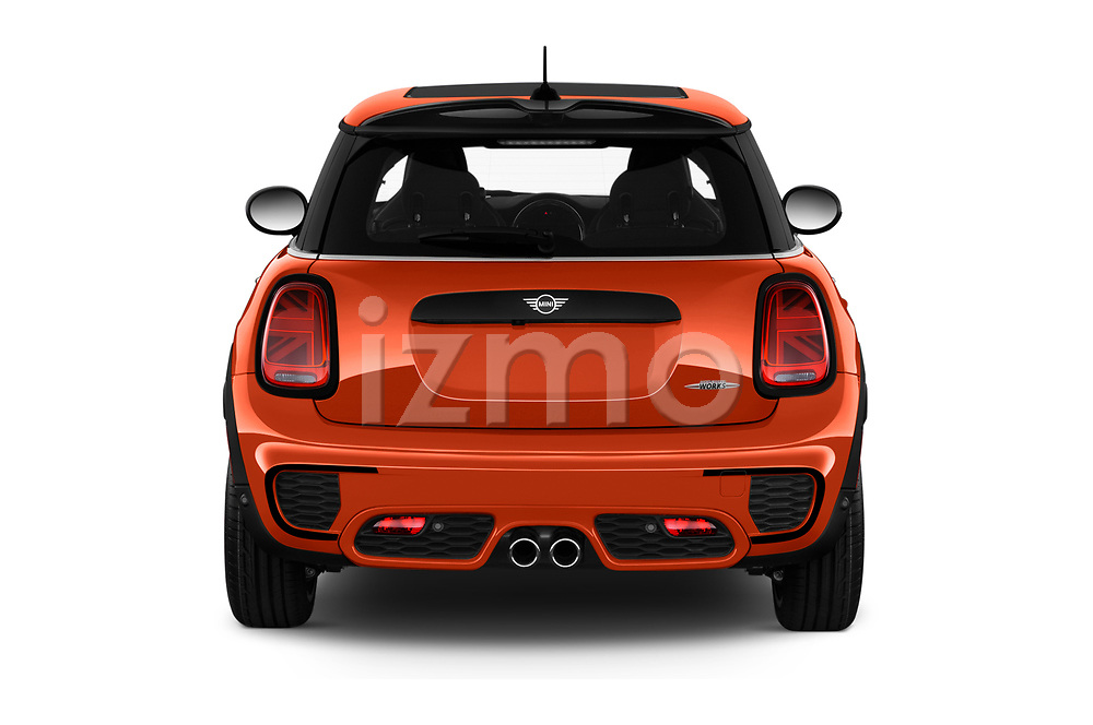 Straight rear view of 2019 MINI Hardtop-2-Door John-Cooper-Works-Iconic 3 Door Hatchback Rear View  stock images
