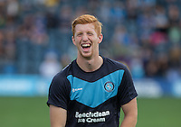 A Happy Ryan Sellers of Wycombe Wanderers pre match during the Sky Bet League 2 match between Wycombe Wanderers and Plymouth Argyle at Adams Park, High Wycombe, England on 12 September 2015. Photo by Andy Rowland.