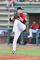 Elizabethton Twins starting pitcher Sean Poppen (16) delivers a pitch during a game against the Bristol Pirates at Joe O'Brien Field on July 30, 2016 in Elizabethton, Tennessee. The Twins defeated the Pirates 6-3. (Tony Farlow/Four Seam Images)