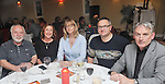 Brian Keenan, Claire Grady, Lise Hand, Oisin McCann and Austin Vaughan pictured at the opening of Rolling Sun Book festival at the Clew Bay Hotel on friday night last.<br /> Pic Conor McKeown