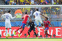 Daniel Sturridge of England heads a chance at goal