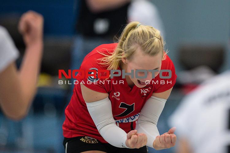 18.01.2015, Halle Berg Fidel, Muenster<br /> Volleyball, Bundesliga Frauen, USC MŸnster / Muenster vs. Kšpenicker / Koepenicker SC<br /> <br /> Jubel Jessica Gšpner / Goepner (#7 Koepenick)<br /> <br />   Foto &copy; nordphoto / Kurth