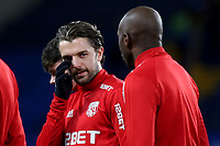 West Brom's Jay Rodriguez chats with Allan Nyom pre-match during Chelsea vs West Bromwich Albion, Premier League Football at Stamford Bridge on 12th February 2018