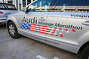A side view of an Audi car that took part in Audi's Mileage Marathon from New York to Los Angeles in October 2008. The event, which the shown sticker promotes, was put on to demonstrate Audi's TDI system featuring ultra low emissions and high fuel efficiency. Monterey, California, USA