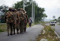 Men in World War I gear in Fabian Way, Swansea, south Wales UK. Friday 01 July 2016