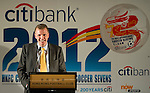 CEO of Citibank for the Asia-Pacific region Stephen Bird speeches during Sportsman's Dinner ahead the HKFC Citibank International Soccer Sevens at the Hong Kong Football Club Main Sports Hall on May 17, 2012 in Hong Kong. Photo by Victor Fraile / The Power of Sport Images for HKFC