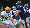 Nick LiCalzi #33 of South Side, right, races downfield during a Nassau County Conference III varsity football game against Lynbrook at South Side High School in Rockville Centre on Thursday, Sept. 27, 2018. He ran for two touchdowns in South Side's 28-13 win.