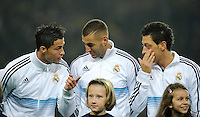 FUSSBALL   CHAMPIONS LEAGUE   SAISON 2012/2013   GRUPPENPHASE   Borussia Dortmund - Real Madrid                                 24.10.2012 Cristiano Ronaldo, Karim Benzema und Mesut Oezil (v.l., alle Real Madrid)
