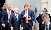 U.S. Sen. John McCain (R-AZ) (L) and HRH Prince Harry leave Russell building after touring an anti-landmine photography exhibition by The HALO Trust charity during the first day of his visit to the United States  on May 9, 2013 in Washington, DC. .Credit: Olivier Douliery / CNP