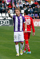 Real Valladolid´s Ebert talks to the referee during La Liga match. March 28, 2010. (ALTERPHOTOS/Víctor J Blanco)