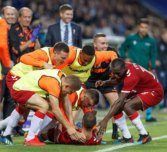 08.08.2019 FC Midtjylland v Rangers: Nikola Katic celebrates his goal