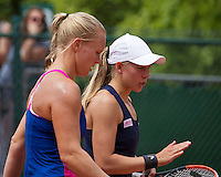 Paris, France, 22 June, 2016, Tennis, Roland Garros, womans doubles: Kiki Bertens (NED) and her partner Johanna Larsson (SWE) (R)<br /> Photo: Henk Koster/tennisimages.com